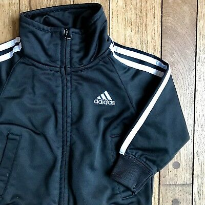Adidas Track Jacket 12 months 12M infant baby polyester black old school Top