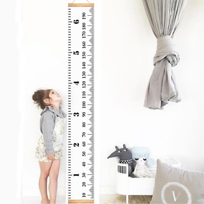 Infant Baby Height Growth Chart Roll Up Hanging Wood Frame Height Measurement Ru