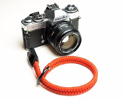 SnakeStraps Red Paracord Camera Wrist Strap with Peak Design Link