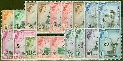 Swaziland 1961 Extended Surch set of 18 SG65-77a V.F MNH