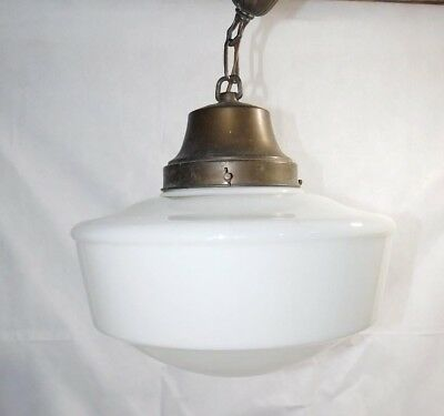 Antique Vtg Art Deco Victorian Hanging Ceiling Light Fixture School Industrial