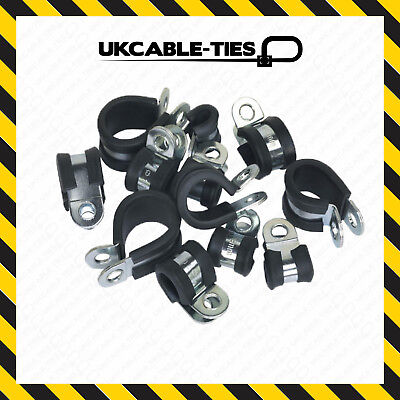 RUBBER LINED /'P/' CLIPS SIZE 35MM ZINC PLATED x 25