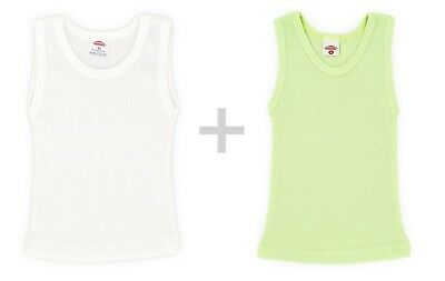 Pack of 2 Children's Vest Undershirt Girls Boys Cotton Mix colour white up to 92