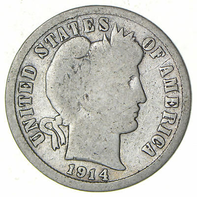 1914-D barber dime, VF details, slightly worn and circulated.
