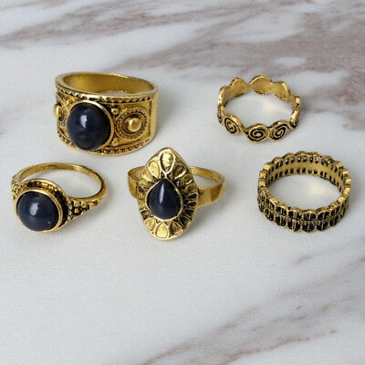 LC_ 5Pcs Bohemian Vintage Blue Stone Alloy Finger Ring Women Charming Jewelry