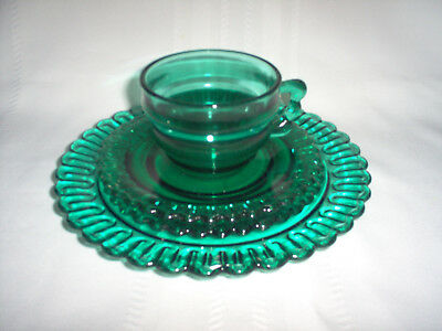 4-PIECE PLACE SETTING Indiana CHRISTMAS CANDY Teal TERRACE GREEN Glass Set