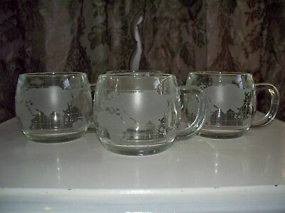 Vintage 70's Nestle World Globe Clear Glass Mug Cup - 6 oz. - Set Of Four (4)