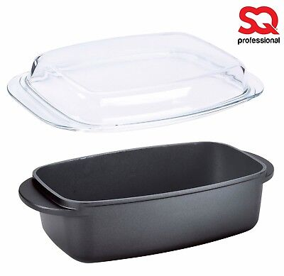 5.7L Roasting Pan Oval Oven Baking Dish Non Stick Roaster with Glass Lid 32cm