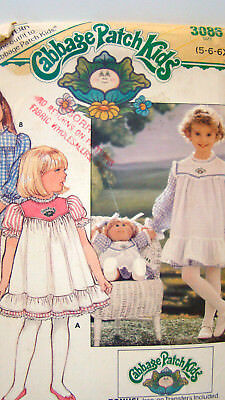 UNCUT Butterick  Sewing Pattern 3086 Cabbage Patch Girl Doll Iron Transfers