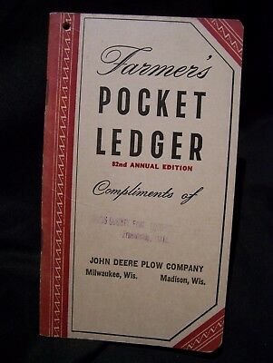 John Deere Plow 1948/9 Farmers Pocket Ledger Tractor Adv~Unused~Friendship, Wis.