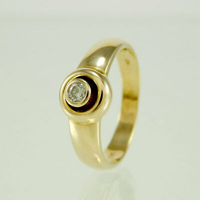 Ring 585/- 14k Gelbgold Brillant ca. 0,1 ct. Top Crystal/P2