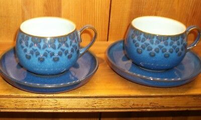 Vintage Denby Midnight Coffee Cup and Saucers Blue Stoneware Pottery Nice!