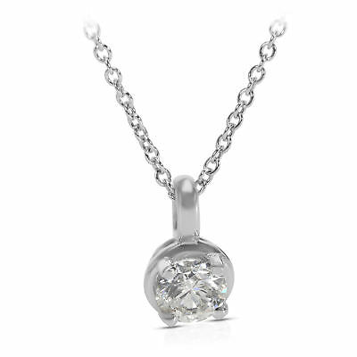 BRAND NEW IGL Certified Diamond Solitaire Necklace in 14K White Gold (0.90 CTW)