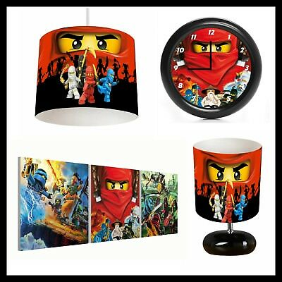 Lego Ninjago (008) Bedroom Bundle - Lampshade, Lamp, Clock, Canvas Prints