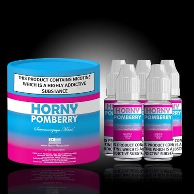 Horny Pomberry E Liquid 3mg 10ML 6 Flavours.TPD 50ml 5X10 Pomberry £6.99!!!