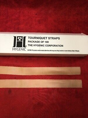 "NEW BOX OF 100 HYGENIC Natural Rubber Latex Tourniquet Straps 18""x1"""