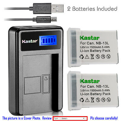 Kastar Battery LCD USB Charger for  Canon NB-13L CB-2LH & Canon PowerShot G5 X