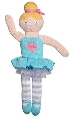Zubels 100% Hand-Knit Zoe the Blue Ballerina Plush Doll Toy, 14-Inch, All-Natura