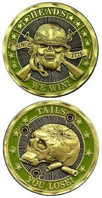 Heads We Win Tails You Lose Green Challenge Coin