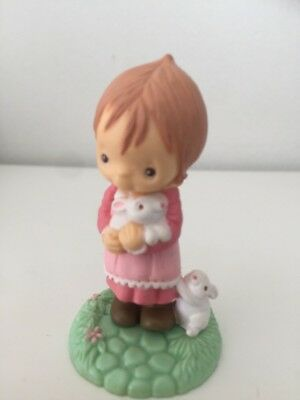HALLMARK Merry Miniature 1982 Easter Bunny Girl Figurine COLLECTABLE FREE SHIP