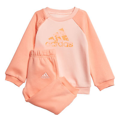 adidas Logo Sports Infant Toddler Baby Kids Girls Tracksuit Set Peach