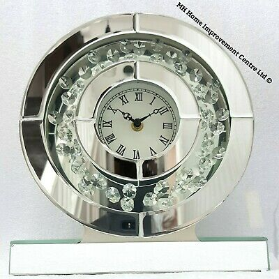 Sparkly Floating Crystal Silver Mirrored Round Table Mantle Clock