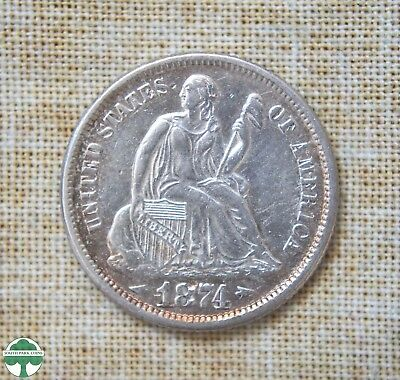 1874 Seated Liberty Dime - Extremely Fine Details - Arrows