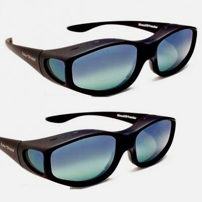 2 Black Vented Solar Shield Fits Over Polarized Sunglasses Size M w/ Side Views