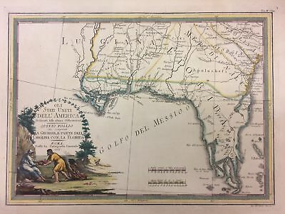 Gli Stati Uniti Dell' America... Georgia Florida Carolinas Map CASSINI 1797