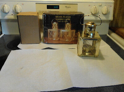 Pair Of Vintage Brass & Glass Candle Lamps, In Original Box