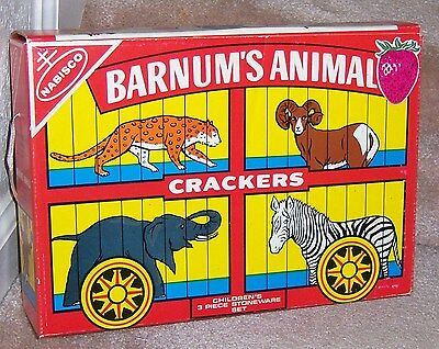 NABISCO BARNUM'S ANIMAL CRACKERS 3-pc Stoneware Dish Set '70's VTG NEW RARE