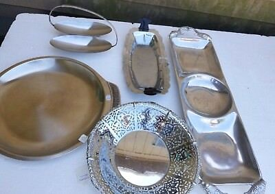 LOT OF 5 VINTAGE Silver Plates Bowl Carrier Mixed Silverware Plate