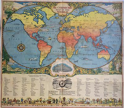McCormick's Map of the World 1930 pictorial spice map BEE BRAND SPICES