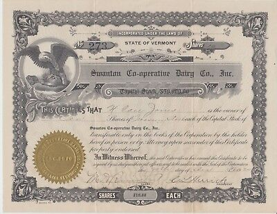 Swanton Co-Op Dairy Co. Stock Certificate, Vermont,1920 10 Shares FINAL MARKDOWN