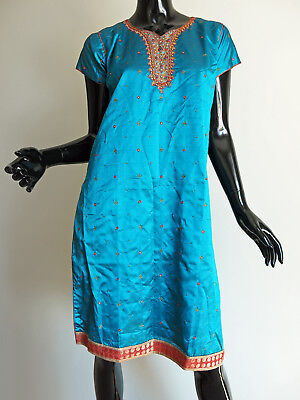 Boutique Indian Dark Aqua Green Embroidered Rhinestone Kameez Top 40 Small