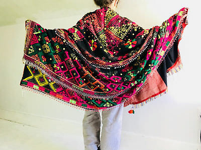 Vintage Swat Valley Shawl And Throw. Pashto. Mirror work and Embroidered