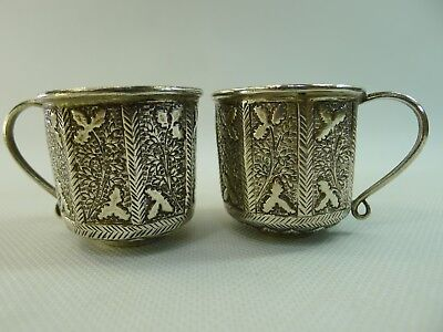 antique / vintage lovely silver pair of small cups hand decorated all around