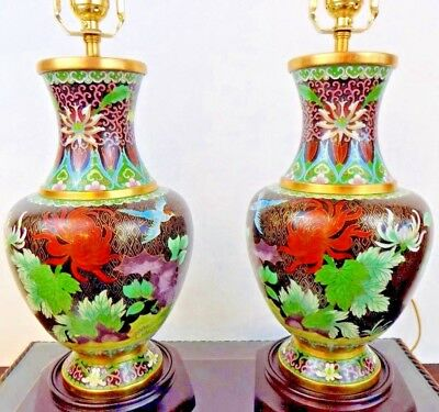 """Pair Of 26"""" Lamps Top Quality Beijing Cloisonne/porcelain Vase  Chinese/japanese"""