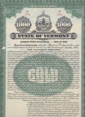 State of Vermont  $1,000 GOLD Flood Bond,  Montpelier, 1927 ---- FINAL MARKDOWN