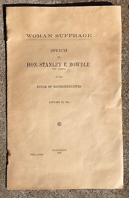 1915 Woman Suffrage anti-suffrage House of Representative Stanley Bowdle Speech