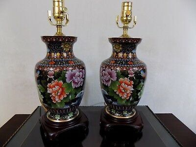 """Pair Of 25"""" Lamps Top Quality Beijing Cloisonne/porcelain Vase Chinese/japanese"""