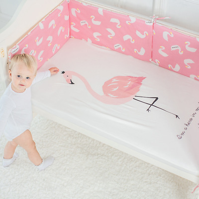 Cotton Crib Mattress Cartoon Pattern Pad Cover Baby Protector Fitted Natural