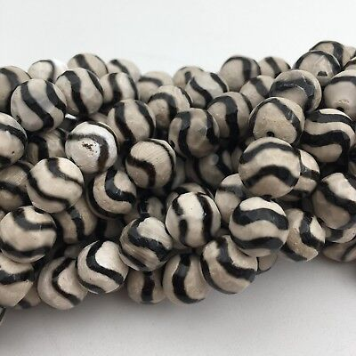 "Tibetan Agate w/Wavy Stripe Faceted Round Loose Beads Size 8/10/12mm 15.5"" Long"