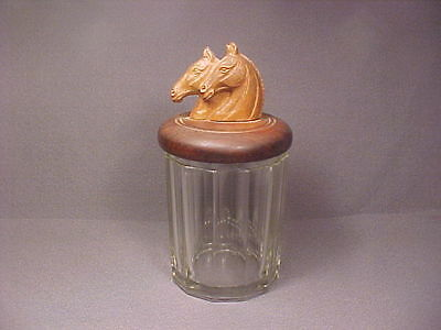 Vintage / Antique Glass Jar Cigar Humidor Wood Top with Carved Horse Heads Cool