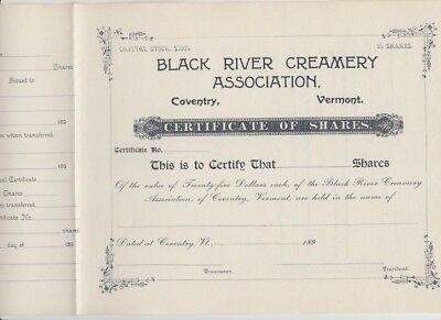 Black River Creamery Assn. Stock Cert.,  Coventry, Vermont, 1890s FINAL MARKDOWN
