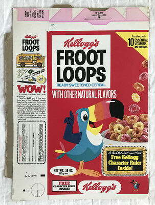 Old Vintage 1978 1970's Kellogg's Froot Loops Cereal Box Flat Character Ruler