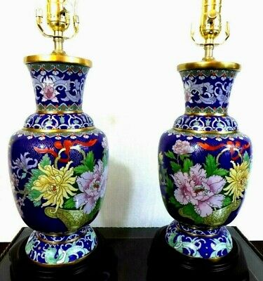"Pair Of 30"" Chinese Cloisonne Vase Lamps-  Porcelain Japanese Asian Oriental"