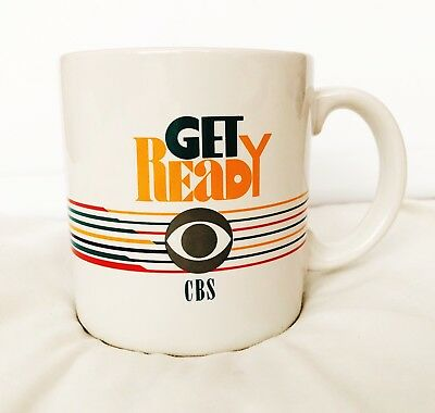 Vintage CBS TV Network Get Ready Kmart Promotional Coffee Mug Cup 1989-1990