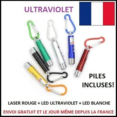 Mini Pointeur Laser Rouge Avec Led Ultraviolet Et Lampe Porte Cle Piles Incluses