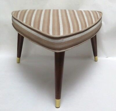 Mid Century Atomic Footstool w/ Wood Tapered Legs-Brown White Striped Vinyl